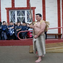 Portobello school children look on at the marae