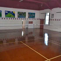 The hall ready for badminton
