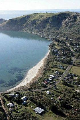 Aerial view of Te Rauone Beach