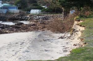 Erosion of the beach