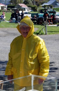 Christine was dressed for rain