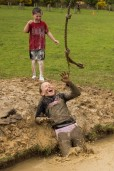 laughing in the mud